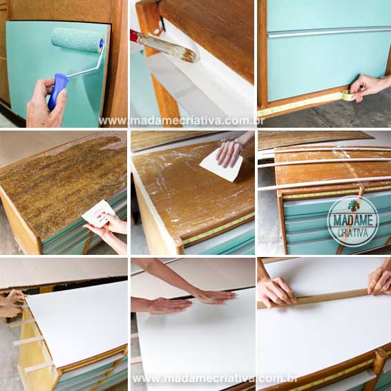 Antes e Depois - Rack virou gaveteiro - Dicas e passo a passo de como colar fórmica - Before and After repurposing furniture- Tutorial - How to - Madame Criativa - www.madamecriativa.com.br