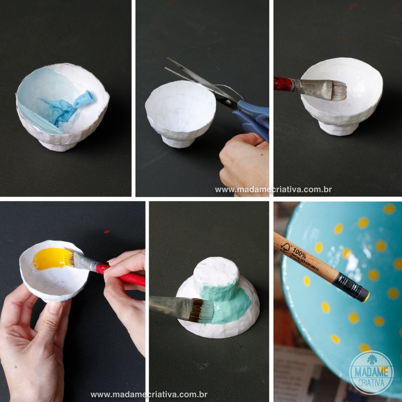 Pintando a cumbuca - Como fazer cumbuca usando papel e cola-  Passo a passo com fotos - Painting the bowl -How to make a bowl using paper and glue - DIY tutorial  - Madame Criativa - www.madamecriativa.com.br