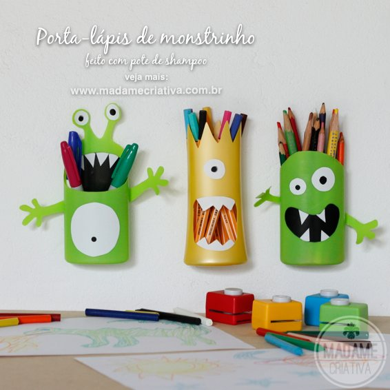 How do creative pencil holders for kids - monster pot shampoo - Tips and Walkthroughs Photo - DIY - Tutorial - Monster Shampoo - How to - Madame Creative - www.madamecriativa.com.br
