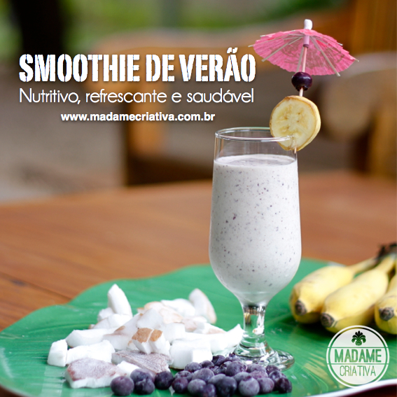 Bebida refrescante e saudável para o Verão - Smoothie de banana, côco, blueberry ou açaí - Banana, coconut and blueberries Smoothie