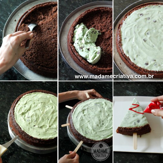 Árvore de Natal comestível - Bolo com sorvete de menta - Receita e passo a passo - Mint Ice Cream on chocolate cake Christmas tree - How to with pictures - Madame Criativa - www.madamecriativa.com.br