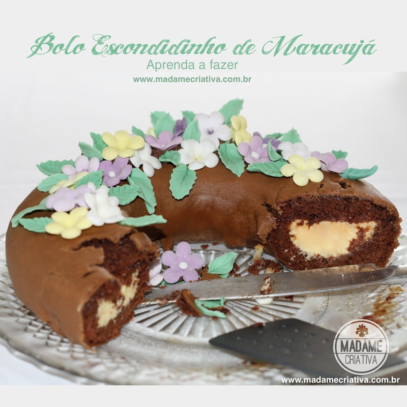 Receita bolo escondidinho de maracujá - Dicas de como fazer -How to make chocolate cake with passion fruit  filling Recipe - DIY - Madame Criativa - www.madamecriativa.com.br
