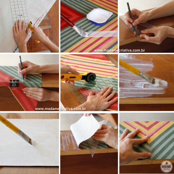 colando o tecido - Como revestir penteadeira com estampa Chevron ou Missoni-  Passo a passo com fotos - how to glue the fabric - How to coat a dresser with fabric Chevron or Missoni- DIY tutorial  - Madame Criativa - www.madamecriativa.com.br