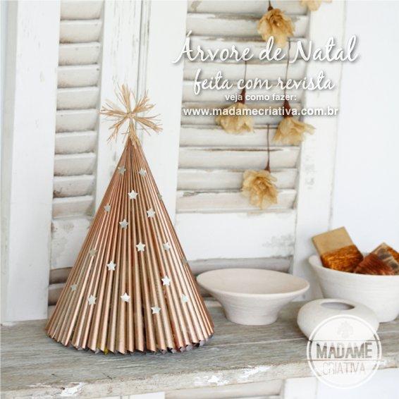 decoracao arvore de natal passo a passo:Como fazer árvore de natal com revista – Reciclagem – Passo a Passo