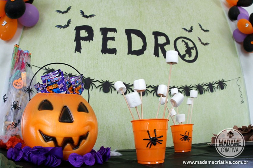 Aniversário tema Halloween - Enfeite de aranha para dia das bruxas - Passo a Passo - PAP - DIY tutorial - How to make spider garland for Halloween