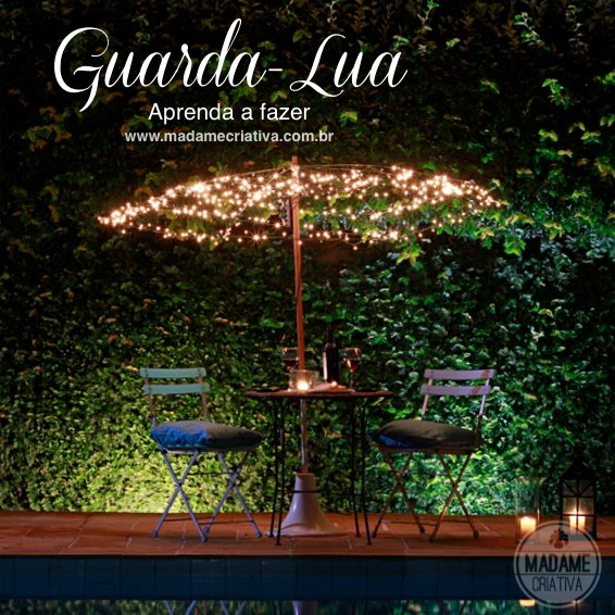 "Como fazer guarda- lua com pisca - pisca - Passo a passo com fotos - How to make a ""moon parasol"" with lamps- DIY tutorial  - Madame Criativa - www.madamecriativa.com.br"
