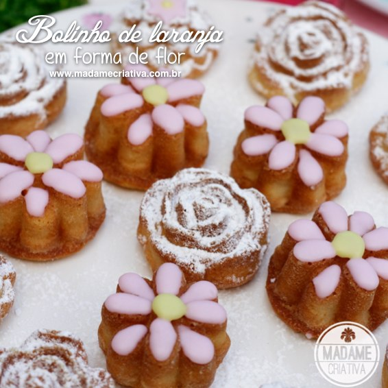 Cute and delicious Orange Petit Four with lime topping and flower shaped - Bolinho de laranja com glacê de limão em forma de flor - #petifour #springfood #decoratedfood #cake #tea #fiveoclocktea - Let them eat cake - Madame Criativa