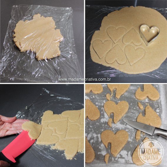 Cute and delicious Heart shape almond cookies - I'll make it for valentine's - Recipe in english and portuguese - Receita de dis dos Namorados: biscotto em forma de coração para colocar na caneca - Passo a Passo com fotos - #almond #cookie #biscoito #bolacha