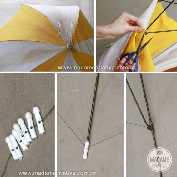 "desmonando o guarda sol - Como fazer guarda- lua com pisca - pisca - Passo a passo com fotos - dismantling the parasol - How to make a ""moon parasol"" with lamps- DIY tutorial  - Madame Criativa - www.madamecriativa.com.br"