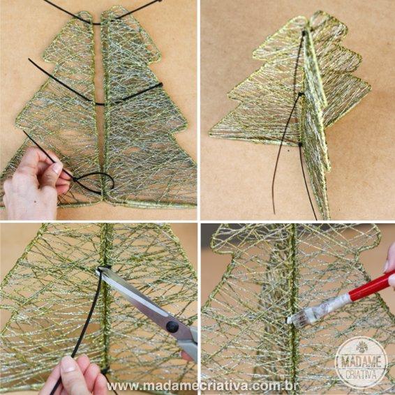 decoracao arvore de natal passo a passo:árvore de Natal com arame e fios trançados – Dicas e passo a passo