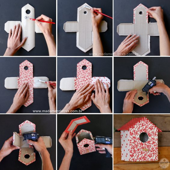 Como fazer uma casinha de passarinho com papelão e tecido estampado - casa de passarinho - Dicas e passo a passo com fotos - Tutorial with pictures - How to make bird house with paperboard and fabric - DIY - Madame Criativa - www.madamecriativa.com.br