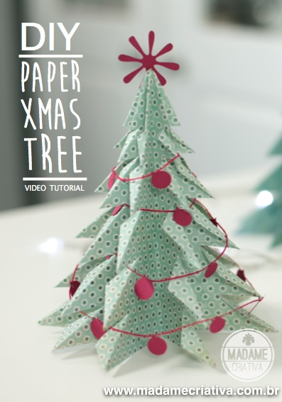Como fazer árvore de Natal 3D com papel dobrado - How to make paper Christmas tree folding paper