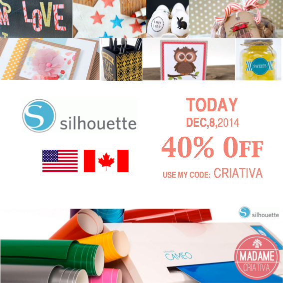 Silhouette America great deal: 40% OFF using my code: CRIATIVA