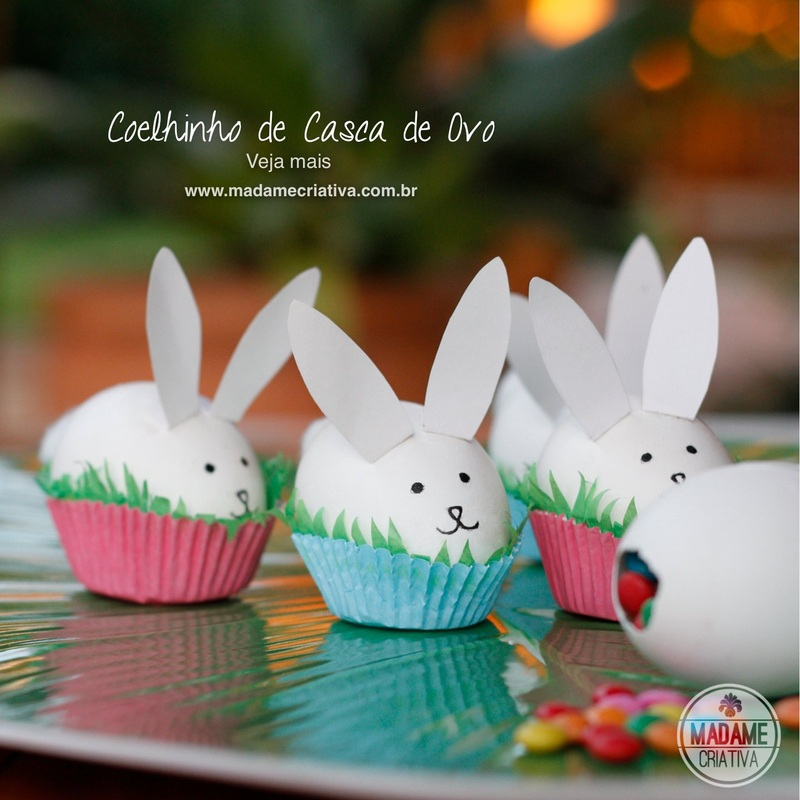 Como fazer coelhinho de casca de ovo recheados de confeitos- Passo a passo com fotos - How to make decorative little bunnies using egg shells filled with candy- DIY tutorial  - Madame Criativa - www.madamecriativa.com.br